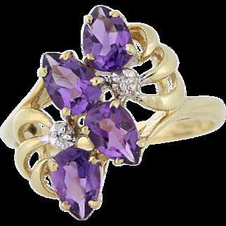 Flirty Amethyst and Diamond Ring 10k yellow gold, size 7