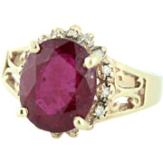 Beautiful Natural Ruby with Diamond Halo Accent Statement Ring 10k gold