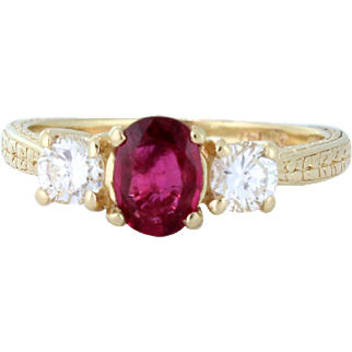 Quality Natural Fine Ruby .94ct with VS quality Diamonds .50tcw with finely engraved 14k yellow gold band