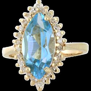 Retro Marquise Blue Topaz with .50tcw Diamond Halo 14k yellow gold