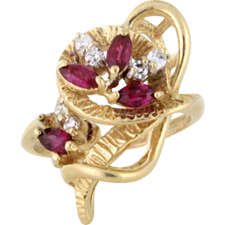 Atomic Design Ruby and Diamond Ring 14k gold circa 1954
