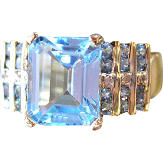 Aquamarine Emerald Cut Ring with Diamonds and more Aquas! Summer time. 10k gold