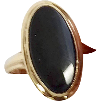 Women's Size 7.5 10K Yellow Gold Black Onyx Ring (COLR10113)