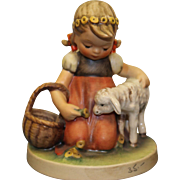 """MOTHER'S DAY Hummel """"Favorite Pet"""" girl with flower crown and lamb, 1960, TMK-4"""