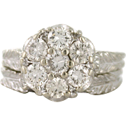 Vintage Diamond Cluster Ring 1.00tcw VS-SI 14k white gold with enhancer band, leaves accent - DIAR10004
