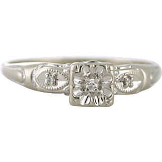 1950s .24tcw Diamond estate ring perfect for a vintage themed proposal 14k white gold