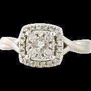 Double Halo .50tcw Diamond Engagement Ring 10k white gold