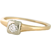 VVS Diamond .25ct Solitaire Ring 14k gold circa 1950s
