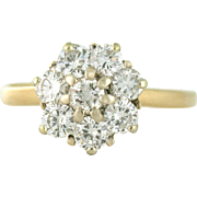 Vintage Cluster Ring 1.00tcw VS diamonds 14k yellow gold, size 8