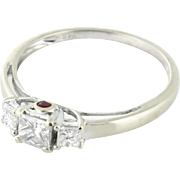 Detailed Diamond Three Across with Hidden Ruby .70tcw Past Present Perfect Future 14k white gold