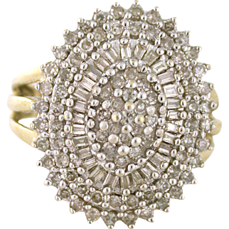 Glittering from All Angles, 2.00tcw Diamond Cluster Party Ring 10k gold