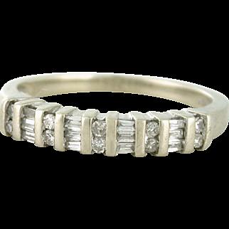 Diamond Half Carat Band, Estate piece 10k white gold