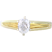 Radiant .49ct Oval Diamond Solitaire Ring 14kt Yellow Gold, Size 7.25 - Red Tag Sale Item