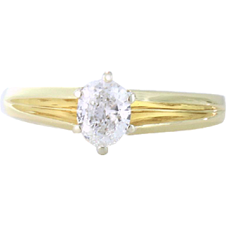 Radiant .49ct Oval Diamond Solitaire Ring 14kt Yellow Gold, Size 7.25