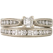 1.00tcw Beaded Edge 14k white gold Wedding Set - High Quality Jewelry at a Low Price!