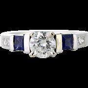 Custom .50ct Diamond and Sapphire Ring. Unique Engagement Ring .50ct Round Center Diamond, .80tcw Sapphire .42tcw Diamond