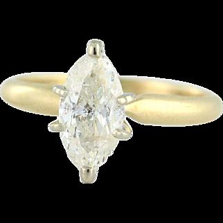 Marquise Diamond 1.00ct in 14k Yellow Gold circa 1983