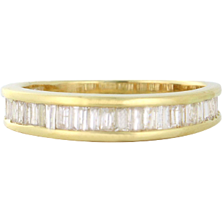 SUPER SALE 1.00tcw Diamond Baguette Band in 14k yellow gold Size 9!