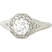 Intricate Filigree .71ct Old European Cut VS Diamond 14k White Gold. circa 1928