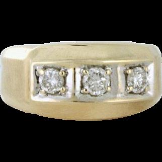 Men's Three Diamond 1.00tcw 14k Gold Ring. Wedding Ring or Pinkie Ring or Statement Ring