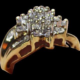 Star Burst Diamond 1.00tcw Cluster Ring, Estate piece. 10k