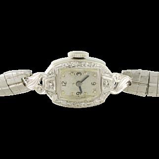 Lady Elgin Diamond Watch 19 Jewels 14k white gold with stretch, adjustable band. Elegant 1951! WAT10064