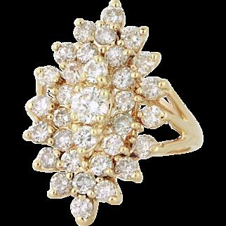 Firecracker 3.25tcw Diamond Dinner Ring 14k gold, Cocktail Ring, Right Hand Ring