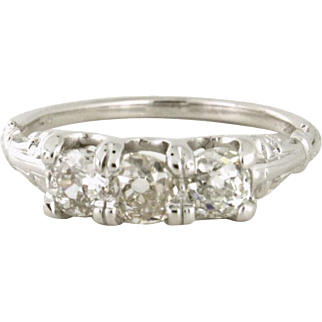 Trinity Diamond 1.02tcw Old Mine Cut three across ring in 14k white gold with 1920s detail
