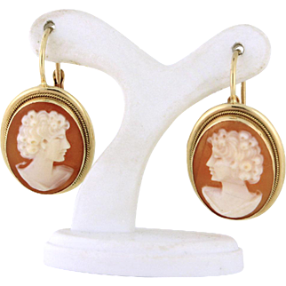 Authentic Italian cameo earrings in 14k yellow gold