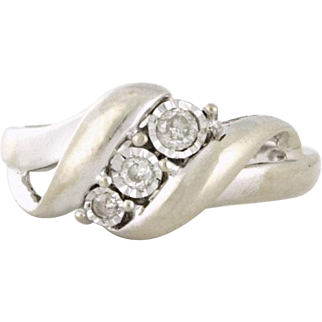 UNDER 100 - Diamond Trinity Ring .10tcw 10k white gold