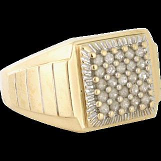 Men's Half Carat Diamond Statement Ring 10k yellow gold