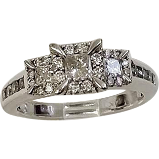 SAVE BIG: 3 Across Diamond Halo Combination 1.00tcw, Perfect for that Pre-Christmas Engagement (DIAR10202)
