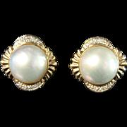 Stunning Mabe Pearl Earrings Diamond .25tcw 14k gold
