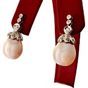 VALENTINE'S SALE 50% OFF: Custom Dangle Earring 11mm South Sea Pearls 14KW with Diamonds (EARCOL10020)