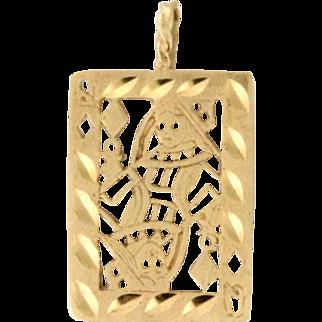 14k Queen of Diamonds Playing Card Pendant. Circa 1970s