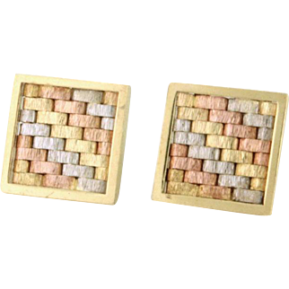 Fashion 14k Tri-Color Gold Square Earrings! Goes great with anything. Tres Chic!