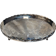 """Scalloped Edge Sheffield Tray """"Mara"""" Grapes Motif Silver plated (and newly re-silver plated too!) - Popular 1970s style"""