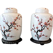 Authentic Ginger Jars from Taiwan before 1954 Cherry Blossom Hand painted with wooden stands