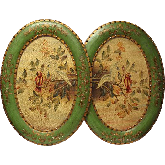 50% OFF SALE: 1880s Victorian Paintings Large Oval Rice Paintings – Cockatiels - Antique Home Decor
