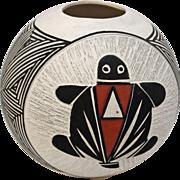 Round Turtle Pot. Signed D Waconda Acoma. By Artist Debra Wacoda, New Mexico