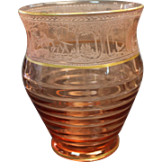 Fostoria Etched Vase Pink with Gold Trim. Hunting Mold 1939