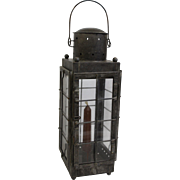 Tin Lantern with Glass Panes by Dale the Tinker. Authentic American Colonial Reproduction. Hand blown glass panes. Tinware.