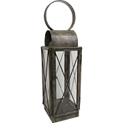 Vintage Tin Lantern with Glass Panes by Dale the Tinker. Authentic American Colonial Reproduction. Hand blown glass panes. Tinware.