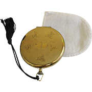 "Vintage Zell Fifth Avenue Powder Compact ""Pocket Watch"" Style Gold Tone USA"