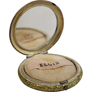 "Elgin Makeup Powder Compact ""Pocket Watch"" Style Gold Tone"
