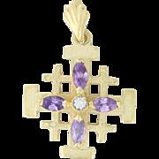 Estate Custom Cross Pendant with Amethyst and Diamond 14k Gold