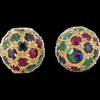 Gemstone Encrusted Slide Pendants Ruby Emerald Sapphire 14k gold circa 1978