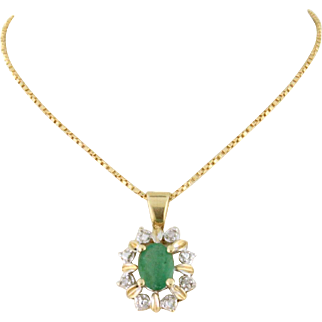 Romantic Emerald and Diamond Necklace 14k gold with 20 inch twisted box chain