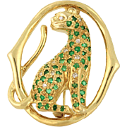 Just Reduced Panther in Emerald and Diamond 14k yellow gold Custom Piece circa 1952