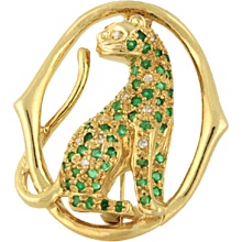 Christmas Super SALE Panther in Emerald and Diamond 14k yellow gold Custom Piece circa 1952